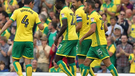 Russell Martin celebrates scoring Norwich City's second goal during their Championship win over Card