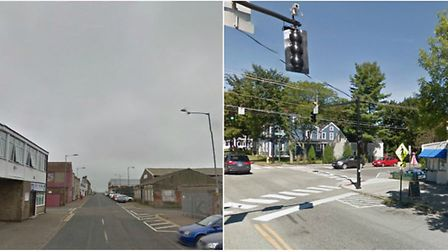 Main Cross Street in GY, UK and Main Street in Yarmouth, Maine.