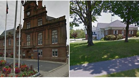 Town Halls in GY, UK and Yarmouth, Maine.