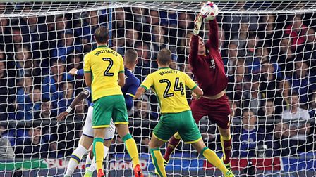John Ruddy claims a cross during the game at Everton. The stopper was part of a strong team which sh