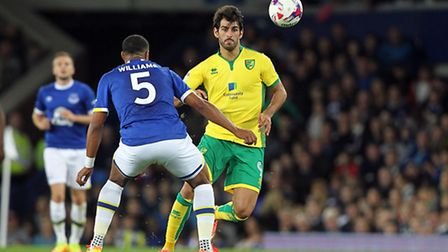 Nelson Oliveira had an encouraging debut in Norwich City's 2-0 EFL Cup win over Everton. Picture by