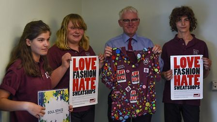 North Norfolk MP Norman Lamb with Sheringham High School students Roman Pretty, Anna Bhalaero and Re