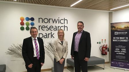 Chris Starkie, New Anglia LEP managing director, Sally Ann Forsyth, chief executive of Norwich Resea