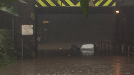 Station Road in Wymondham close due to heavy rain. Picture by Roads Policing, Norfolk