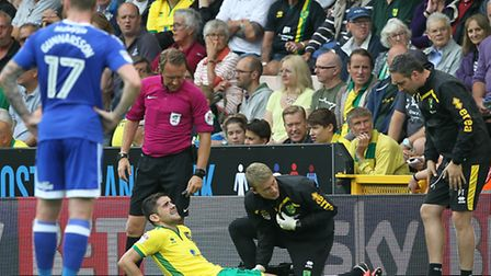 Robbie Brady of Norwich City went off injured during the Sky Bet Championship match against Cardiff