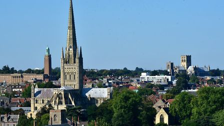 A view over Norwich city from Britannia Road. Norwich Cathedral and the Roman Catholic Cathedral wit
