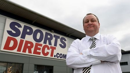 Sports Direct founder Mike Ashley outside the Sports Direct headquarters in Shirebrook, Derbyshire,