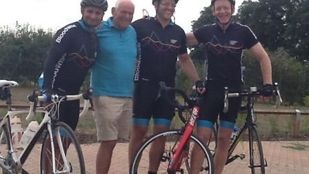 Andrew Wells, his father Ian, and two of his team-mates: Neil and Andy