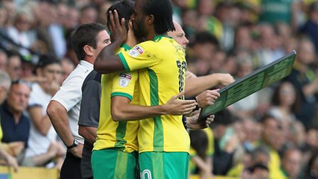 Cameron Jerome is replaced by Nelson Oliveira during Norwich City's 3-1 win over Burton Albion. Pict