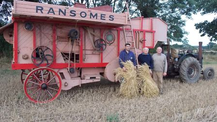 Skeyton Trosh 2016. Pictured with the Ransomes drum are Scott Bunting, Graham Kirk and Tom Randell.