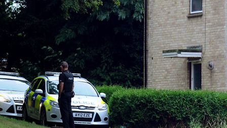 Police at the scene of the incident in Samuel Street Walk on the Nowton Estate in Bury St Edmunds wh