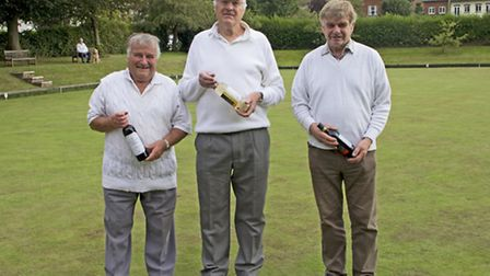 Dave Turrell, Paul Lucus and John Love from Mundesley Bowls Club.