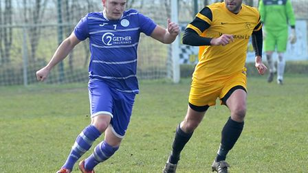 Danny Emmington, left, in action for Wisbech St Mary impressed his new manager on his Linnets debut.