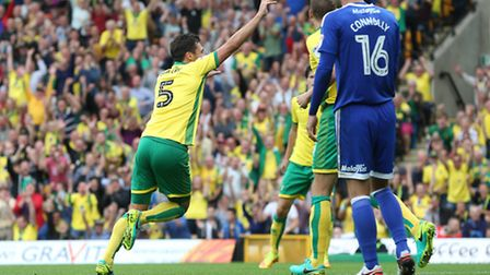 Russell Martin peels away after City made it two with a goal that he was credited for. Picture: PAUL