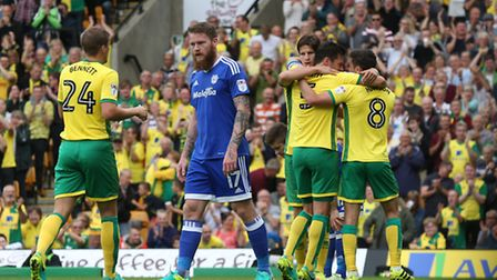 Russell Martin of Norwich celebrates scoring his sides 2nd goal during the Sky Bet Championship matc
