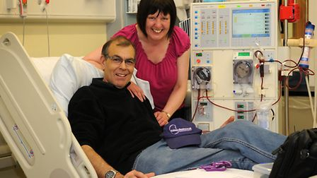 Paul Welsh pictured with his wife Mandy in Cromer Hospital's renal dialysis unit before his latest t