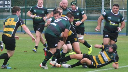 Aki Downing in action for Walsham at Old Priorians.