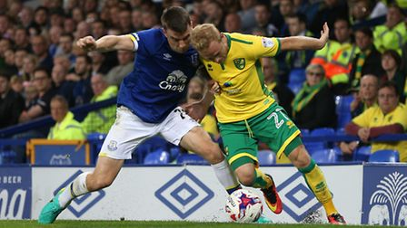 Alex Pritchard made his mark in Norwich City's 2-0 EFL Cup win at Everton. Picture by Paul Chesterto