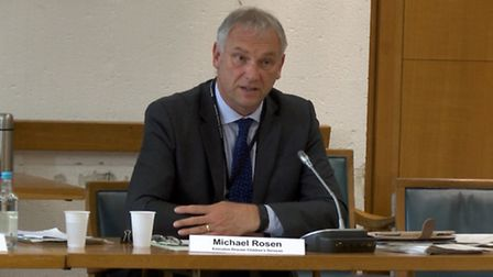 Michael Rosen, director of Children's Services at County Hall, spoke at the Norfolk County Council m