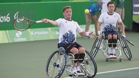 Alfie Hewett and Gordon Reid competing in the men's wheelchair doubles in Rio. Picture: onEdition Me