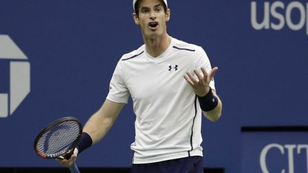 Andy Murray, of the United Kingdom, reacts during his match with Kei Nishikori, of Japan, during the