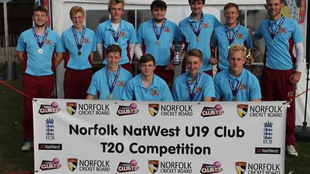 Harrison Futter pictured with the trophy alongside his winning U19 Fakenham Falcons team at the Norf