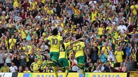 Jacob Murphy of Norwich celebrates scoring his sides 2nd goal during the Sky Bet Championship match