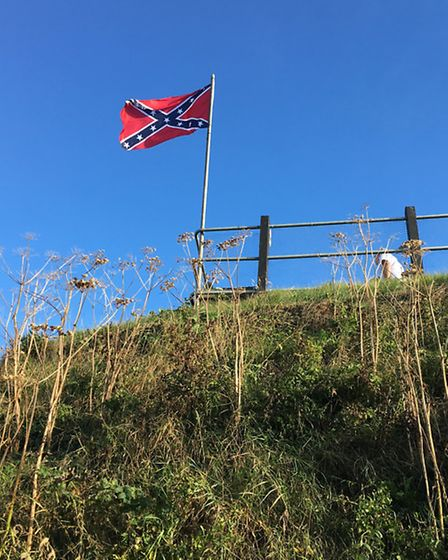 The Confederate Flag flying outside The Ship Inn, Mundesley. Picture: ALEX HURRELL