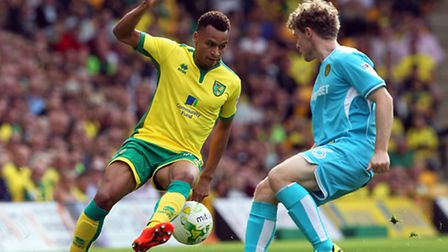 Jacob Murphy was credited with Norwich CCity's second goal against Burton at Carrow Road. Picture by