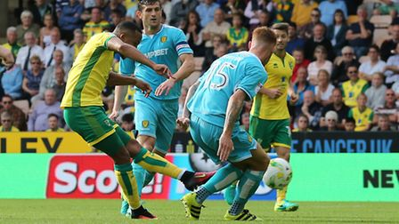 Martin Olsson put Norwich ahead in the first half against Burton. Picture by Paul Chesterton/Focus I