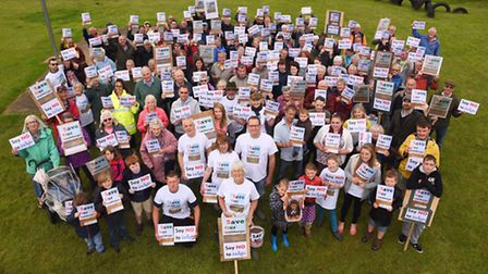 Villagers turned out in force to protest about proposed new housing in Sculthorpe. Picture: Ian Burt