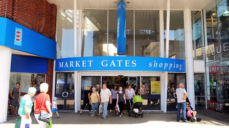Market Gates Shopping Centre. Front of shop on the Market Place in Great Yarmouth town centre. July