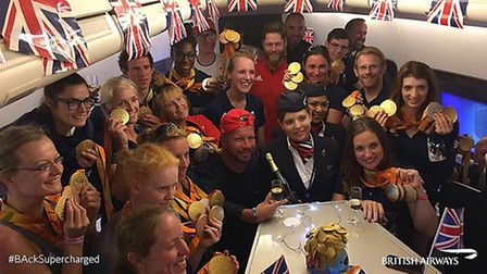 GB Paralympians on a flight home from Rio to London, as Britain's Olympic and Paralympic athletes ar