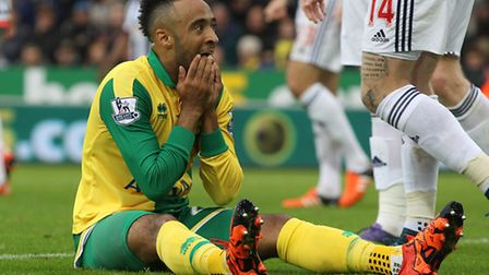 Nathan Redmond reflects on a missed chance during his time at Norwich City. Picture by Paul Chestert