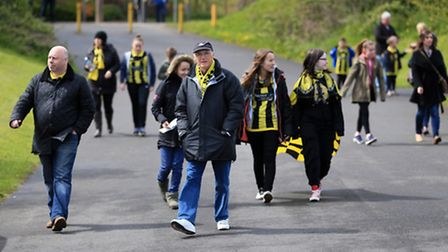 Burton Albion supporters arrive for a League One match at the Pirelli Stadium. Photo: Nigel French/P
