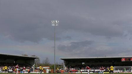 Burton Albion and Northampton Town play under a rainbow during the Sky Bet League Two match at the P