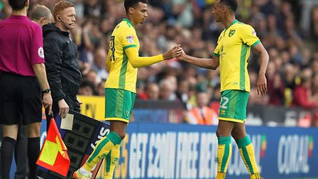 Jacob Murphy of Norwich is replaced by his twin brother Josh Murphy. Picture: PAUL CHESTERTON/FOCUS
