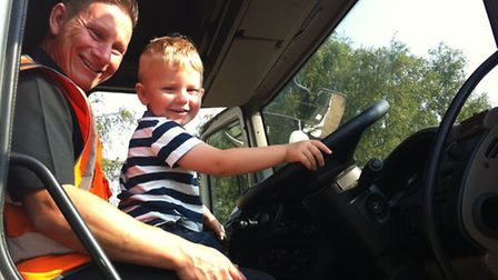 Children from Little Saints Preschool in Weeting had a chance to sit in the cab of a 45ft Goldstar T