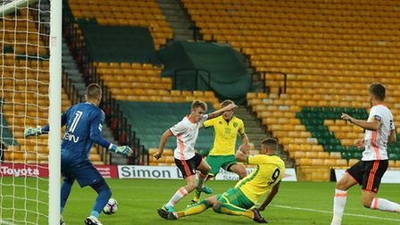 Norwich go 2-0 up, as Antonio Latorre unwittingly turns in a low cross from Josh Murphy. Picture: Ja