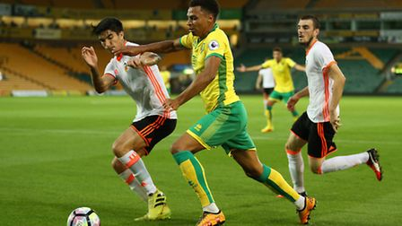Josh Murphy forced home the second goal for Norwich against Valencia. Picture: Jason Dawson/Jasonpix