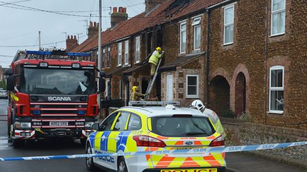 Scene of a house fire in Caley Street, Heacham, in which a woman died. Picture: Chris Bishop
