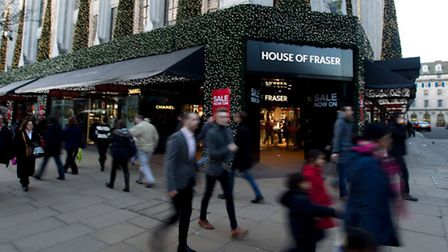 The House of Fraser store on Oxford Street in Central London. Picture: Steve Parsons/PA Wire