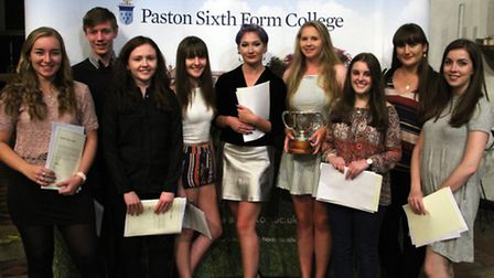 Pupils from Paston Sixth Form College with their awards.