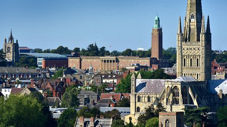 A view over Norwich city from Britannia Road. Norwich Cathedral with City Hall, St Peter Mancroft Ch
