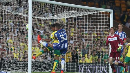 Jacob Murphy makes it 2-0 to Norwich City with his second goal against Wigan, Picture: Paul Chestert