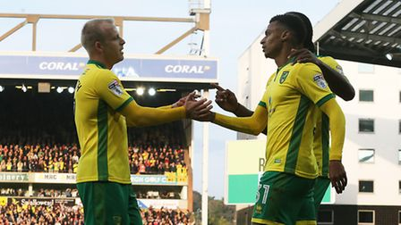 Steven Naismith of Norwich celebrates scoring his sides 3rd goal during the Sky Bet Championship mat