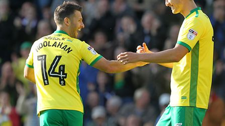 Wes Hoolahan of Norwich celebrates scoring his sides 1st goal with Timm Klose of Norwich during the
