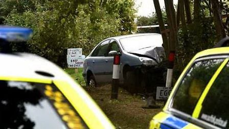 The scene of the accident in which a man died and a woman was seriously injured at Stanton. Picture