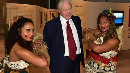 Sir David Attenborough visiting the Fiji: Art and Life in the Pacific exhibition at the Sainsbury Ce