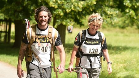 Tommy and Mandy Sharpe walked 100km from London to Brighton for charity. Picture: BLIND VETERANS UK